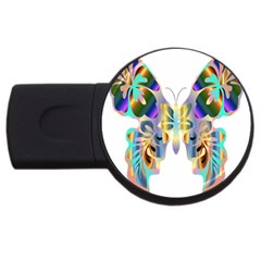 Abstract Animal Art Butterfly Usb Flash Drive Round (2 Gb)
