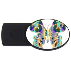 Abstract Animal Art Butterfly Usb Flash Drive Oval (2 Gb)