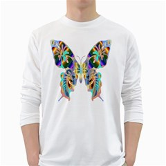 Abstract Animal Art Butterfly White Long Sleeve T Shirts
