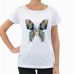 Abstract Animal Art Butterfly Women s Loose Fit T Shirt (white)