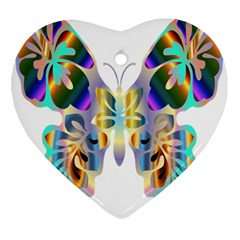 Abstract Animal Art Butterfly Heart Ornament (two Sides)