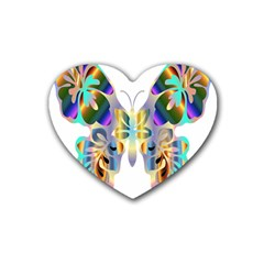Abstract Animal Art Butterfly Heart Coaster (4 pack)