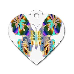 Abstract Animal Art Butterfly Dog Tag Heart (two Sides)