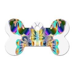 Abstract Animal Art Butterfly Dog Tag Bone (two Sides)
