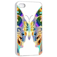 Abstract Animal Art Butterfly Apple Iphone 4/4s Seamless Case (white)