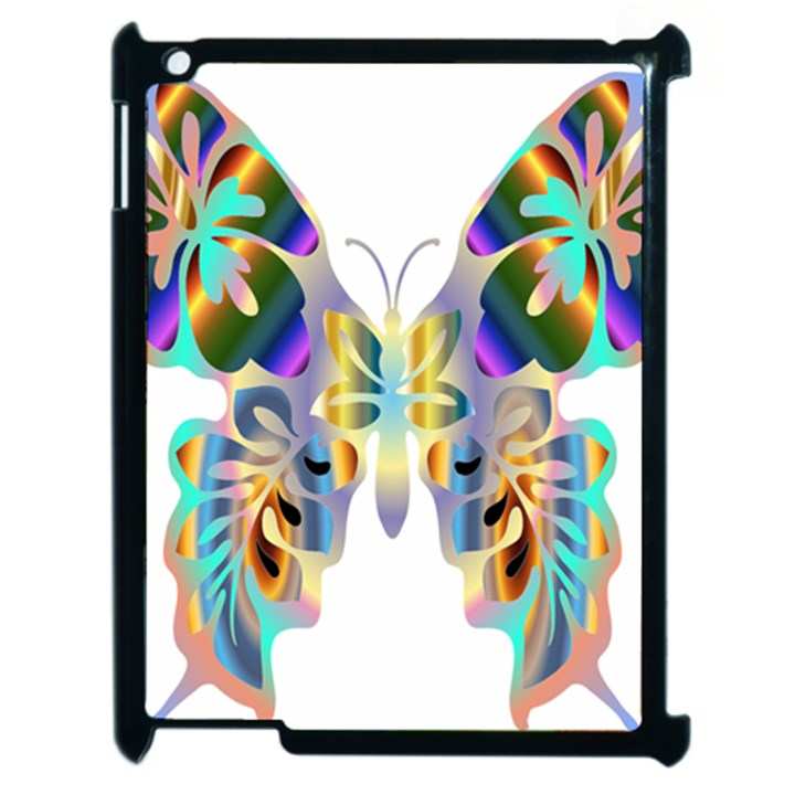 Abstract Animal Art Butterfly Apple iPad 2 Case (Black)