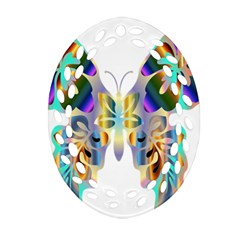 Abstract Animal Art Butterfly Oval Filigree Ornament (two Sides)