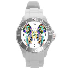 Abstract Animal Art Butterfly Round Plastic Sport Watch (l)