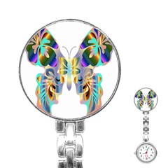 Abstract Animal Art Butterfly Stainless Steel Nurses Watch
