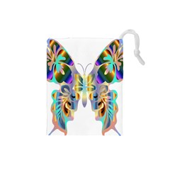 Abstract Animal Art Butterfly Drawstring Pouches (small)