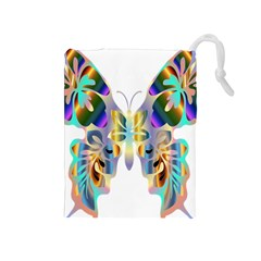 Abstract Animal Art Butterfly Drawstring Pouches (medium)
