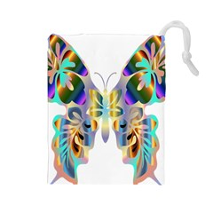 Abstract Animal Art Butterfly Drawstring Pouches (large)