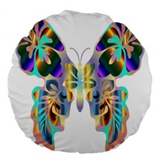 Abstract Animal Art Butterfly Large 18  Premium Flano Round Cushions
