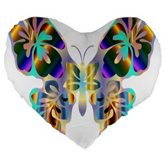 Abstract Animal Art Butterfly Large 19  Premium Flano Heart Shape Cushions