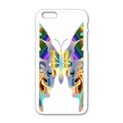 Abstract Animal Art Butterfly Apple Iphone 6/6s White Enamel Case