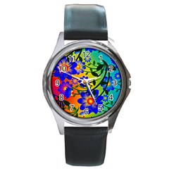 Abstract Background Backdrop Design Round Metal Watch