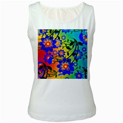 Abstract Background Backdrop Design Women s White Tank Top