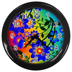 Abstract Background Backdrop Design Wall Clocks (black)