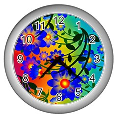 Abstract Background Backdrop Design Wall Clocks (silver)