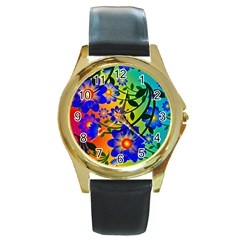 Abstract Background Backdrop Design Round Gold Metal Watch