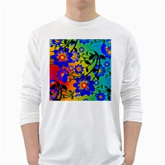 Abstract Background Backdrop Design White Long Sleeve T Shirts