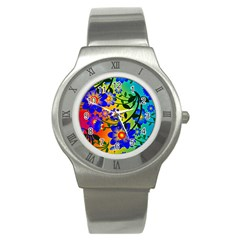 Abstract Background Backdrop Design Stainless Steel Watch