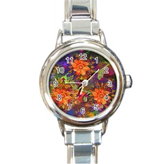 Abstract Flowers Floral Decorative Round Italian Charm Watch