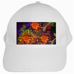 Abstract Flowers Floral Decorative White Cap