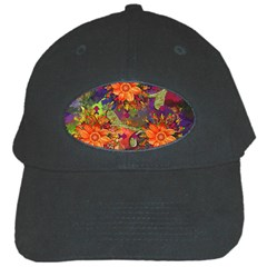 Abstract Flowers Floral Decorative Black Cap
