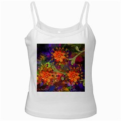 Abstract Flowers Floral Decorative White Spaghetti Tank