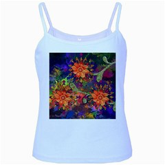 Abstract Flowers Floral Decorative Baby Blue Spaghetti Tank