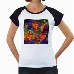 Abstract Flowers Floral Decorative Women s Cap Sleeve T