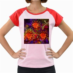 Abstract Flowers Floral Decorative Women s Cap Sleeve T Shirt