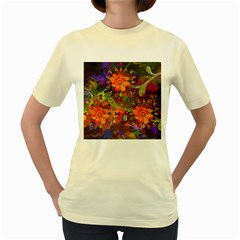 Abstract Flowers Floral Decorative Women s Yellow T Shirt