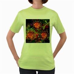 Abstract Flowers Floral Decorative Women s Green T Shirt