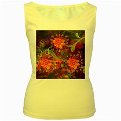 Abstract Flowers Floral Decorative Women s Yellow Tank Top