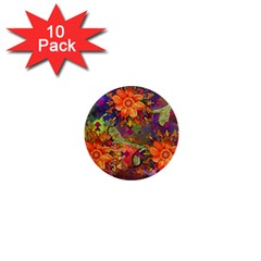 Abstract Flowers Floral Decorative 1  Mini Magnet (10 Pack)