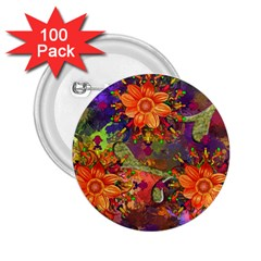 Abstract Flowers Floral Decorative 2 25  Buttons (100 Pack)