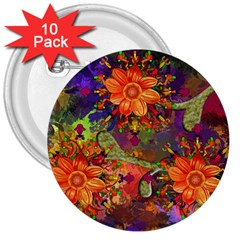 Abstract Flowers Floral Decorative 3  Buttons (10 Pack)
