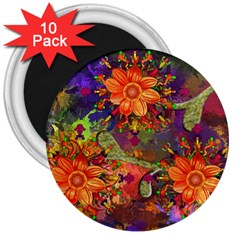 Abstract Flowers Floral Decorative 3  Magnets (10 pack)