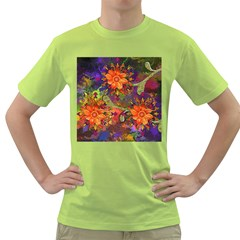 Abstract Flowers Floral Decorative Green T Shirt