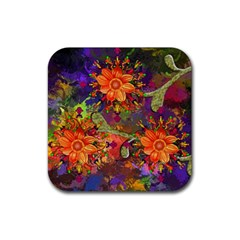 Abstract Flowers Floral Decorative Rubber Square Coaster (4 Pack)