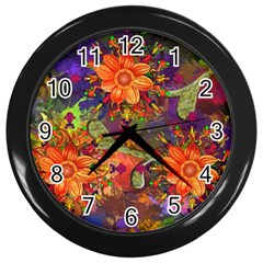 Abstract Flowers Floral Decorative Wall Clocks (black)