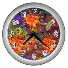 Abstract Flowers Floral Decorative Wall Clocks (Silver)