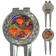 Abstract Flowers Floral Decorative 3-in-1 Golf Divots