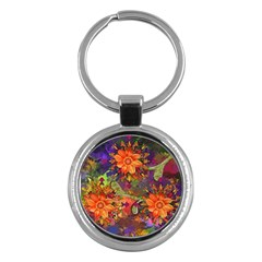 Abstract Flowers Floral Decorative Key Chains (round)
