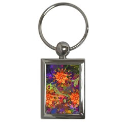 Abstract Flowers Floral Decorative Key Chains (Rectangle)