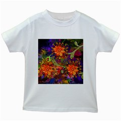 Abstract Flowers Floral Decorative Kids White T-Shirts