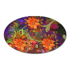 Abstract Flowers Floral Decorative Oval Magnet