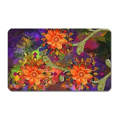 Abstract Flowers Floral Decorative Magnet (rectangular)